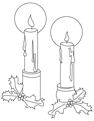 coloriage de bougie de Noël