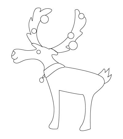 coloriage de Renne du père Noël
