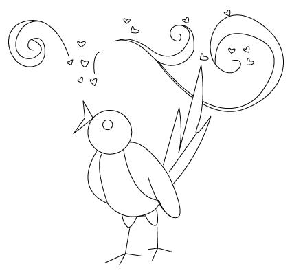 coloriage d'oiseau de St-Valentin