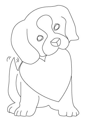 coloriage de chien de St-Valentin