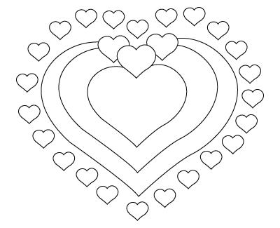 coloriage de coeurs de St-Valentin
