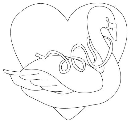 coloriage de cygne de St-Valentin