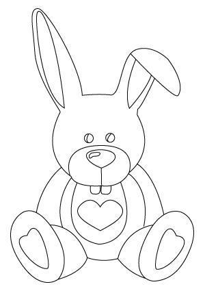 coloriage de lapin de St-Valentin
