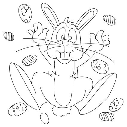 coloriage de lapin de Pâques