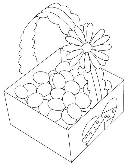 coloriage de panier d'oeuf de Pâques