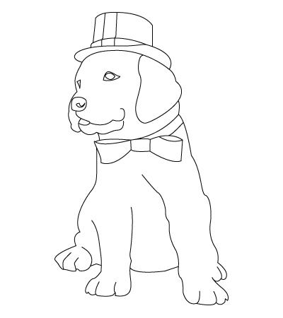 Coloriage de chien de Noël
